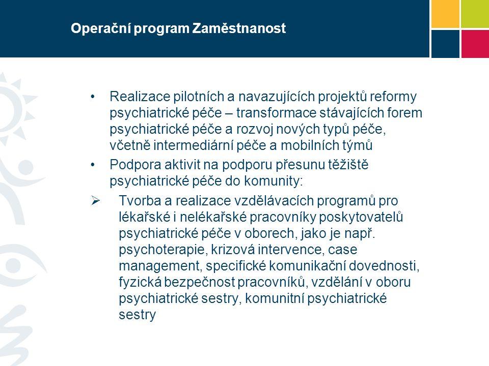 Operační program Zaměstnanost Realizace pilotních a navazujících projektů reformy psychiatrické péče – transformace stávajících forem psychiatrické péče a rozvoj nových typů péče, včetně intermediární péče a mobilních týmů Podpora aktivit na podporu přesunu těžiště psychiatrické péče do komunity:  Tvorba a realizace vzdělávacích programů pro lékařské i nelékařské pracovníky poskytovatelů psychiatrické péče v oborech, jako je např.