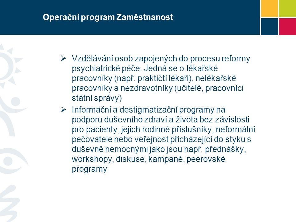 Operační program Zaměstnanost  Vzdělávání osob zapojených do procesu reformy psychiatrické péče.