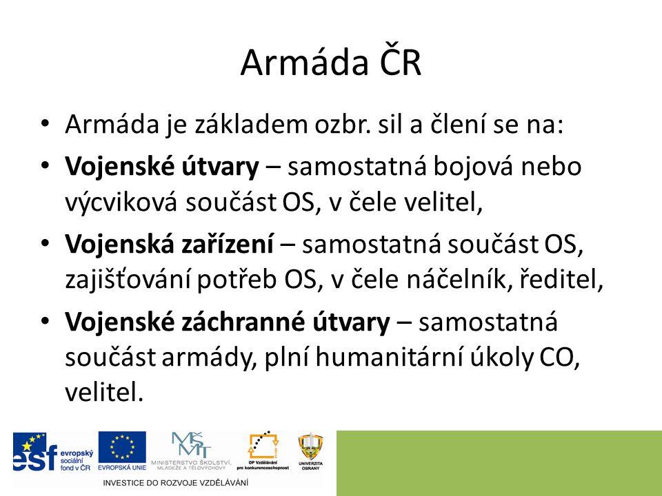 Armáda ČR Armáda je základem ozbr.