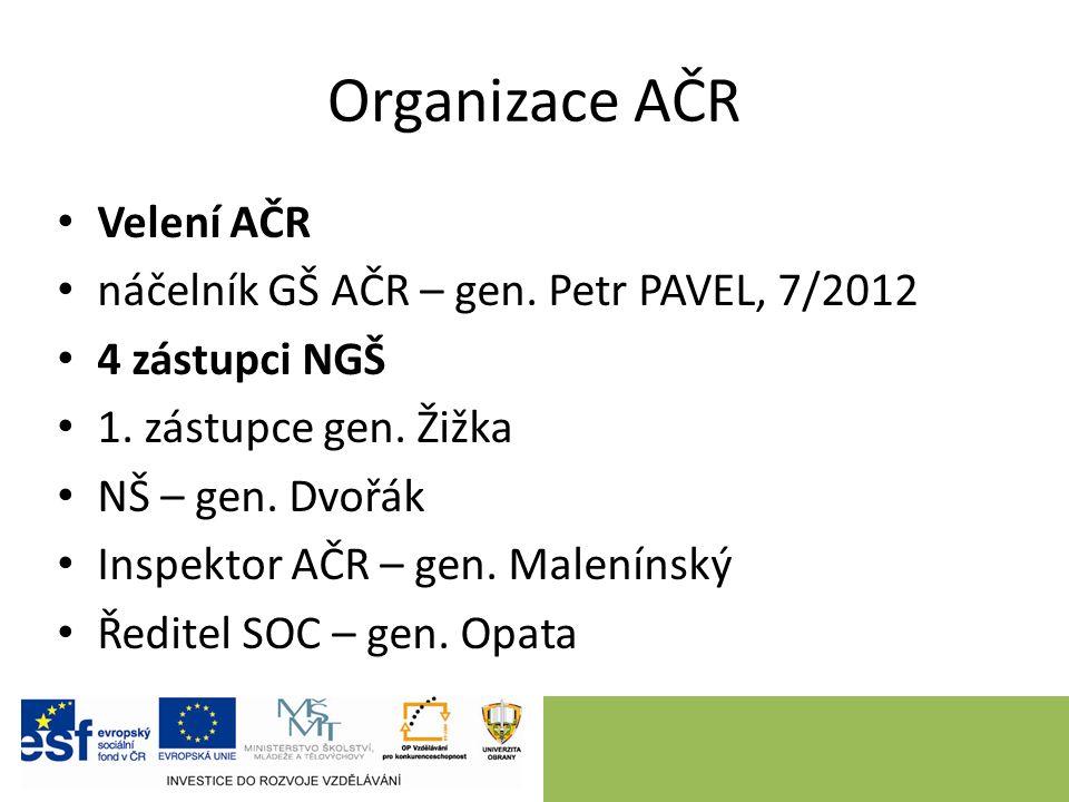 Organizace AČR Velení AČR náčelník GŠ AČR – gen. Petr PAVEL, 7/2012 4 zástupci NGŠ 1.