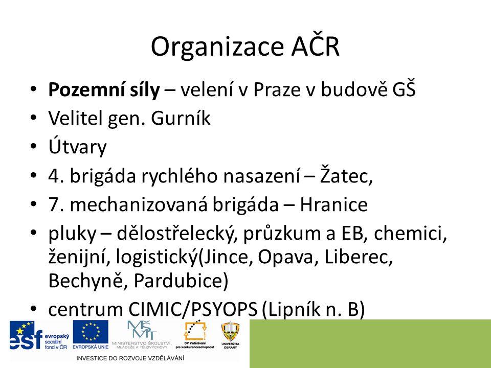 Organizace AČR Pozemní síly – velení v Praze v budově GŠ Velitel gen.