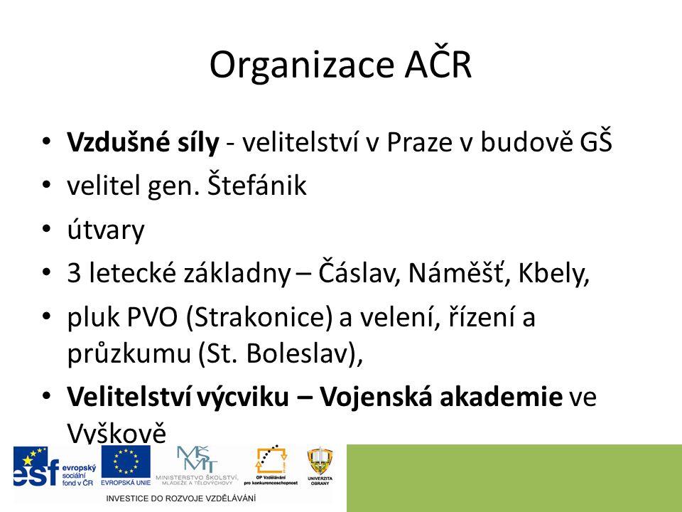 Organizace AČR Vzdušné síly - velitelství v Praze v budově GŠ velitel gen.
