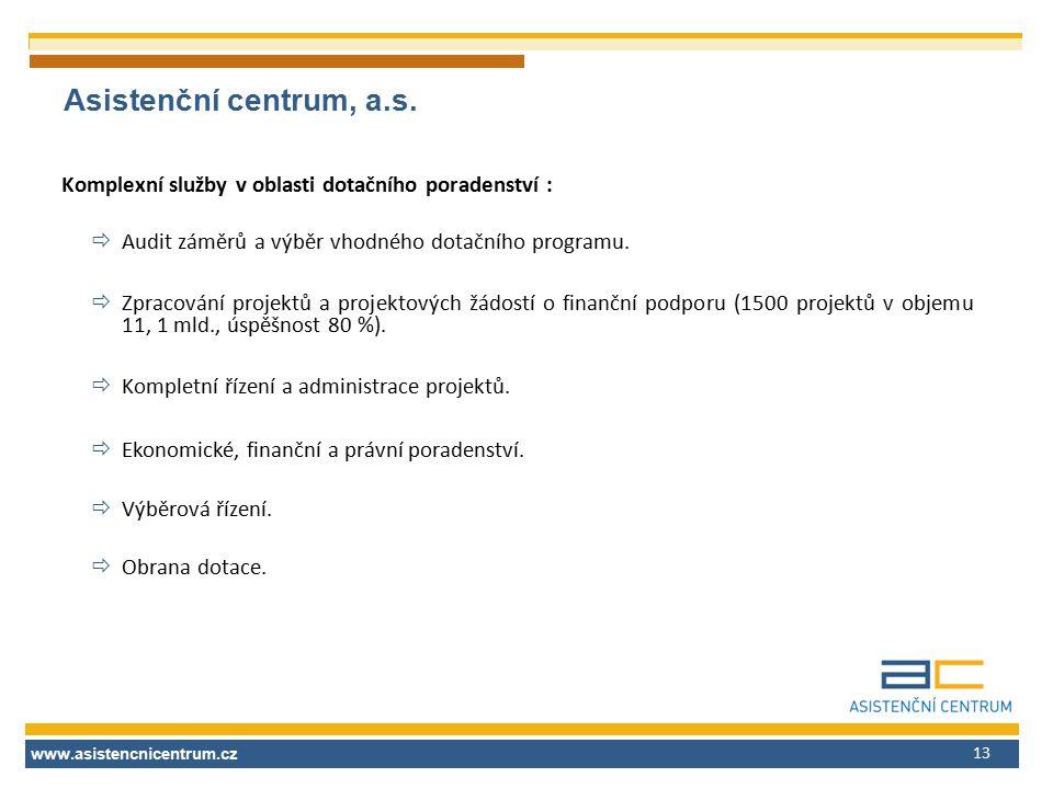 www.asistencnicentrum.cz 13 Asistenční centrum, a.s. Komplexní služby v oblasti dotačního poradenství :  Audit záměrů a výběr vhodného dotačního prog