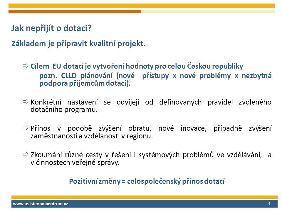 Jak nepřijít o dotaci? Základem je připravit kvalitní projekt.  Cílem EU dotací je vytvoření hodnoty pro celou Českou republiky pozn. CLLD plánování