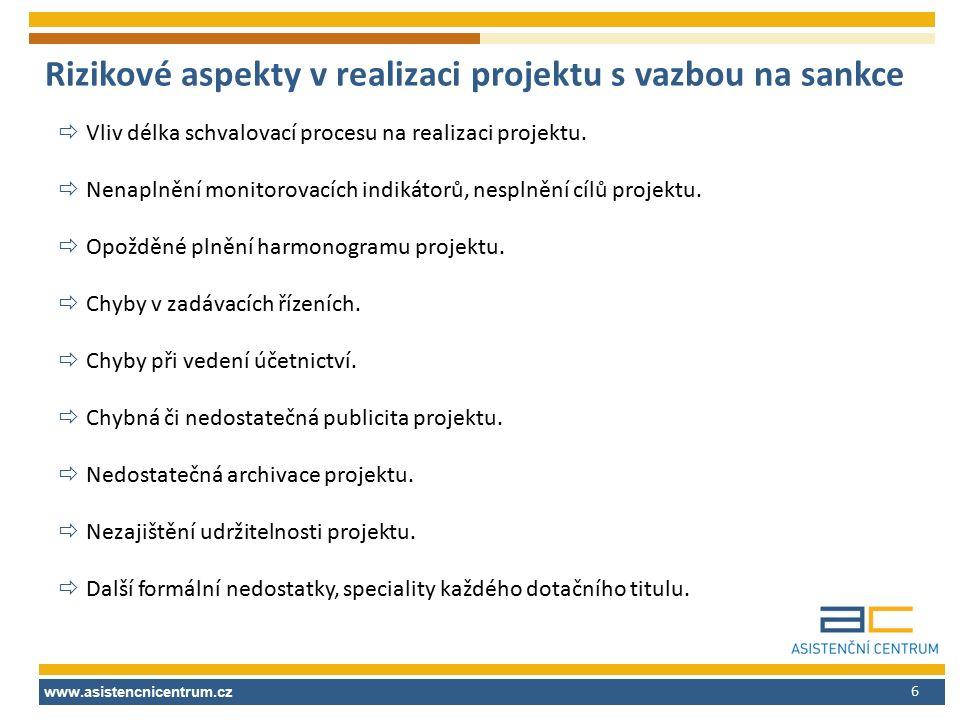 6 Rizikové aspekty v realizaci projektu s vazbou na sankce  Vliv délka schvalovací procesu na realizaci projektu.  Nenaplnění monitorovacích indikát