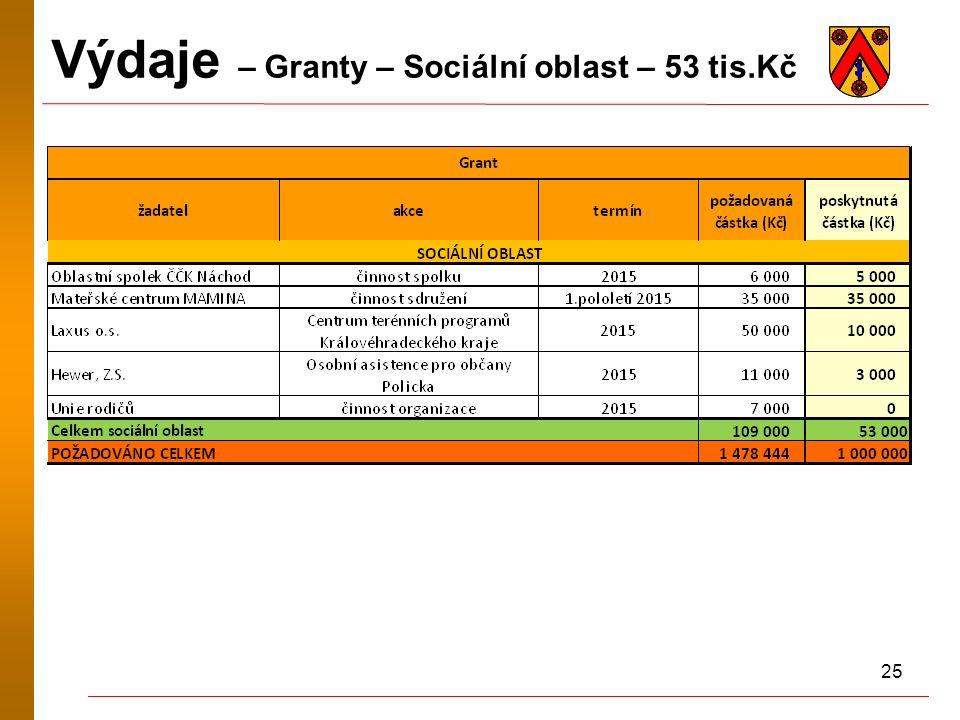 25 Výdaje – Granty – Sociální oblast – 53 tis.Kč