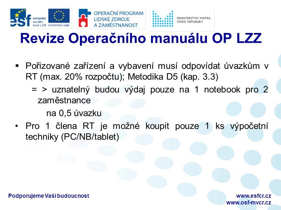 Podporujeme Vaši budoucnostwww.esfcr.cz www.osf-mvcr.cz Revize Operačního manuálu OP LZZ  Pořizované zařízení a vybavení musí odpovídat úvazkům v RT (max.