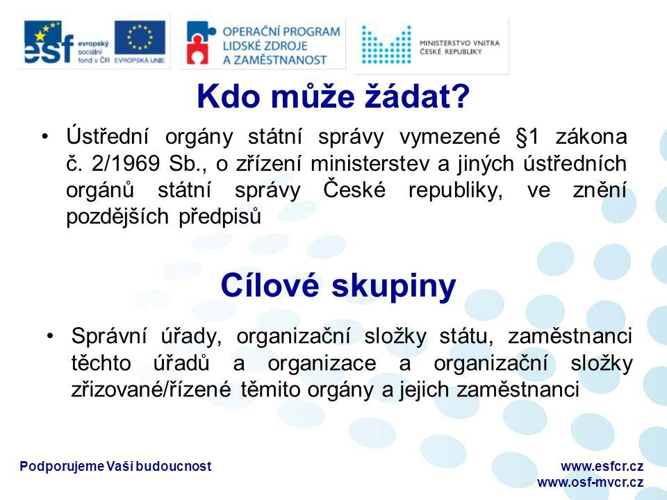 Podporujeme Vaši budoucnostwww.esfcr.cz www.osf-mvcr.cz Kdo může žádat.