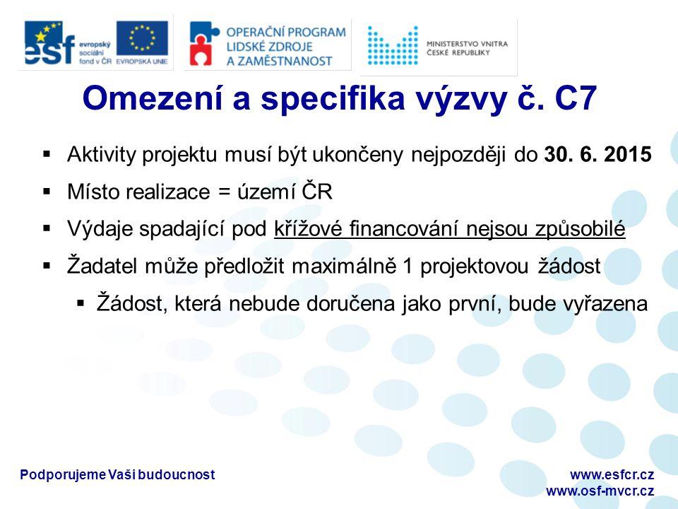 Omezení a specifika výzvy č. C7  Aktivity projektu musí být ukončeny nejpozději do 30.