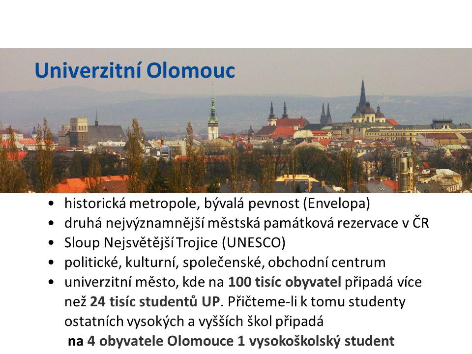 druhá nejstarší univerzita v ČR (založena 1573) druhý největší zaměstnavatel v Olomouci (více než 3 tisíce zaměstnanců) jedna z největších vysokých škol v ČR (více než 24 tisíc studentů) ale především prestižní vysoká škola se širokou škálou studijních oborů Univerzita Palackého v Olomouci