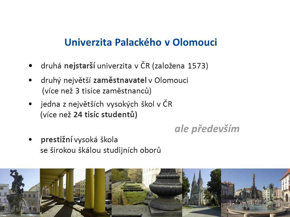druhá nejstarší univerzita v ČR (založena 1573) druhý největší zaměstnavatel v Olomouci (více než 3 tisíce zaměstnanců) jedna z největších vysokých šk