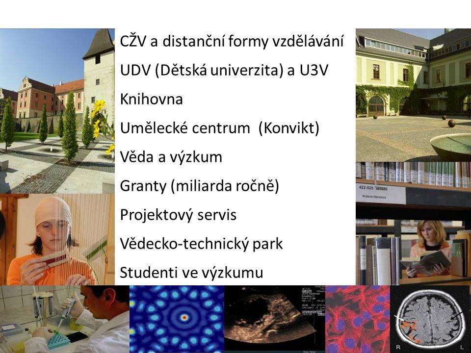 CŽV a distanční formy vzdělávání UDV (Dětská univerzita) a U3V Knihovna Umělecké centrum (Konvikt) Věda a výzkum Granty (miliarda ročně) Projektový se