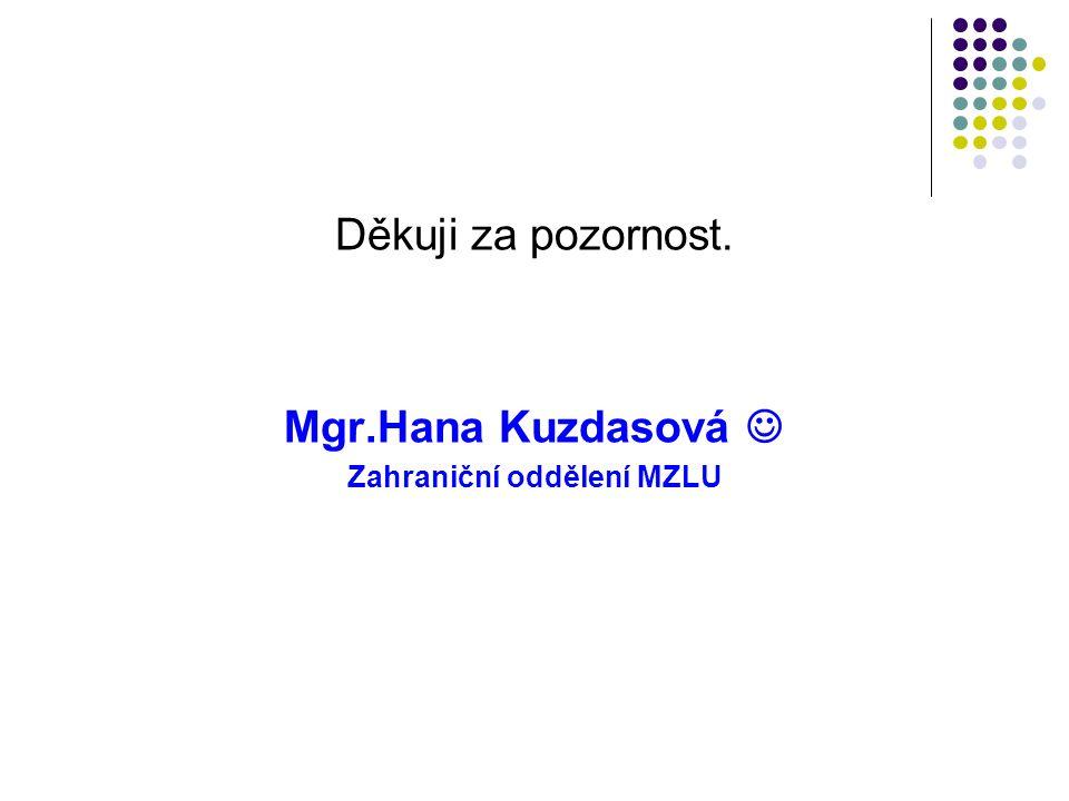 Děkuji za pozornost. Mgr.Hana Kuzdasová Zahraniční oddělení MZLU