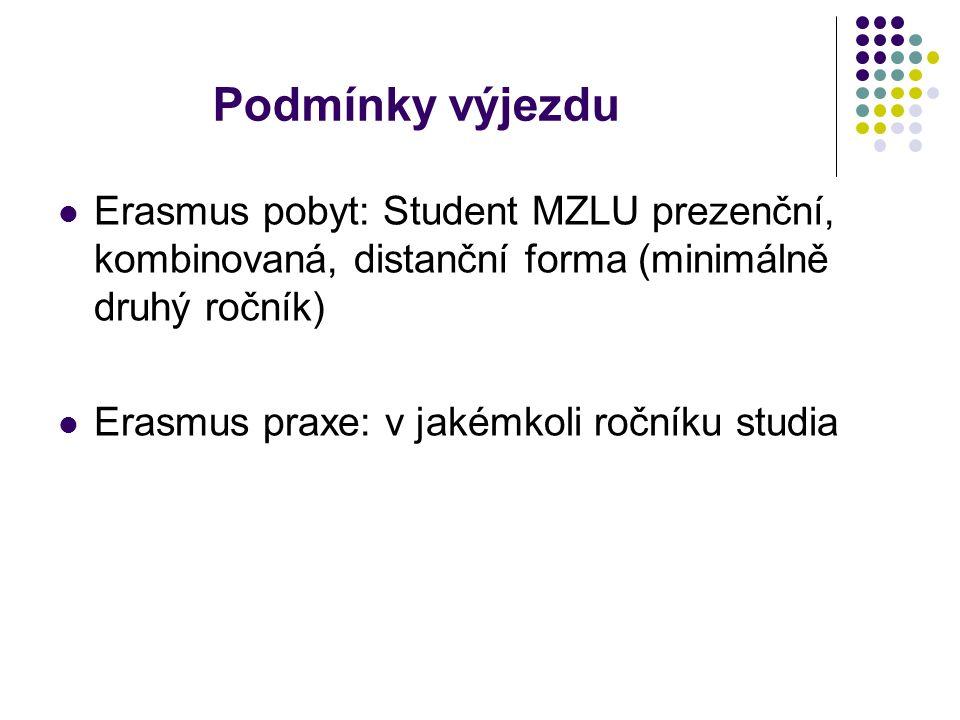 Podmínky výjezdu Erasmus pobyt: Student MZLU prezenční, kombinovaná, distanční forma (minimálně druhý ročník) Erasmus praxe: v jakémkoli ročníku studia