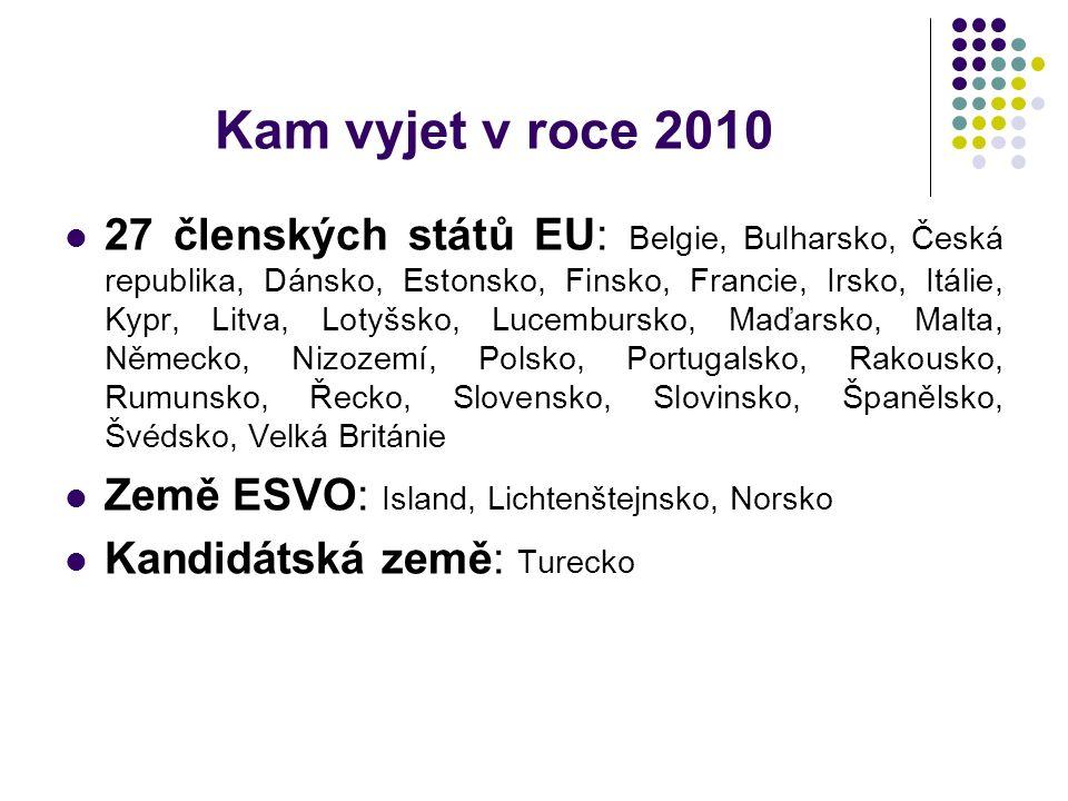 Kam vyjet v roce 2010 27 členských států EU: Belgie, Bulharsko, Česká republika, Dánsko, Estonsko, Finsko, Francie, Irsko, Itálie, Kypr, Litva, Lotyšsko, Lucembursko, Maďarsko, Malta, Německo, Nizozemí, Polsko, Portugalsko, Rakousko, Rumunsko, Řecko, Slovensko, Slovinsko, Španělsko, Švédsko, Velká Británie Země ESVO: Island, Lichtenštejnsko, Norsko Kandidátská země: Turecko