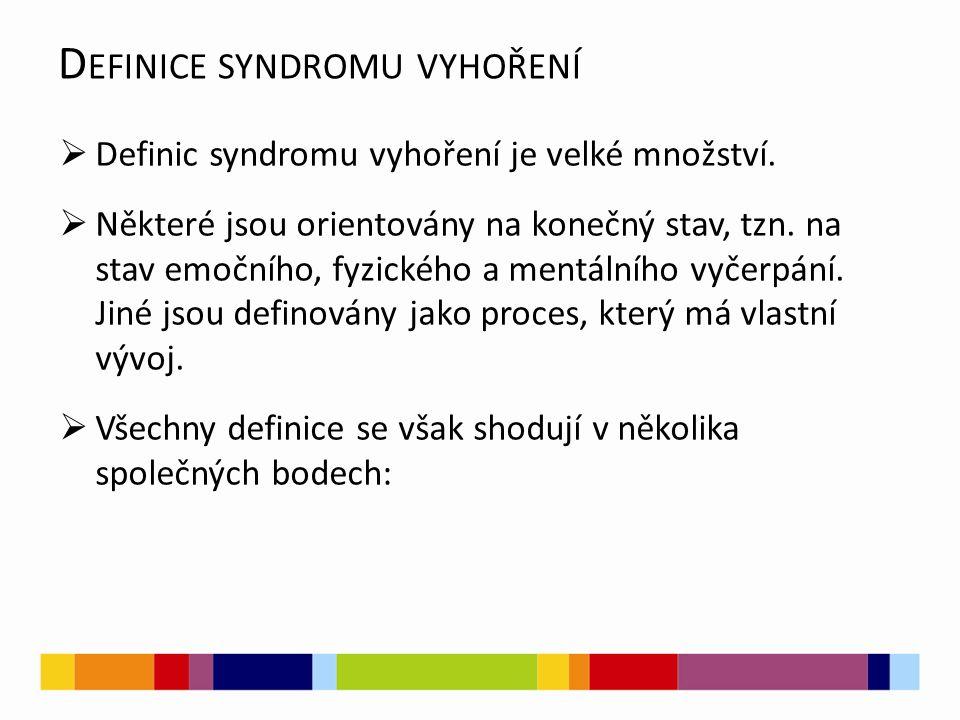 D EFINICE SYNDROMU VYHOŘENÍ  Definic syndromu vyhoření je velké množství.