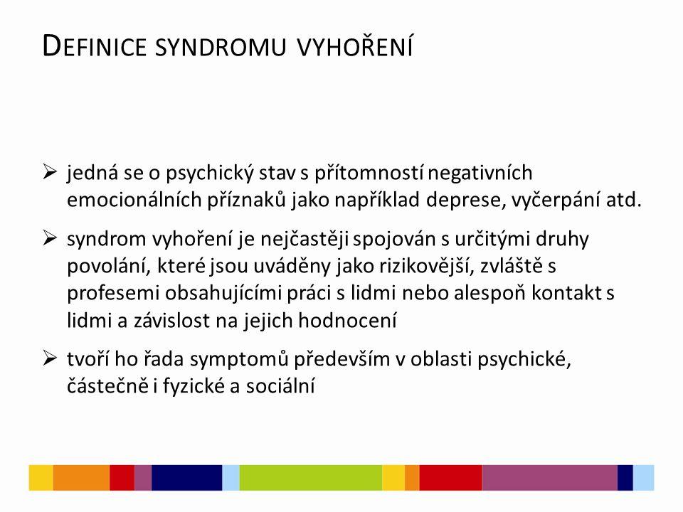D EFINICE SYNDROMU VYHOŘENÍ  jedná se o psychický stav s přítomností negativních emocionálních příznaků jako například deprese, vyčerpání atd.