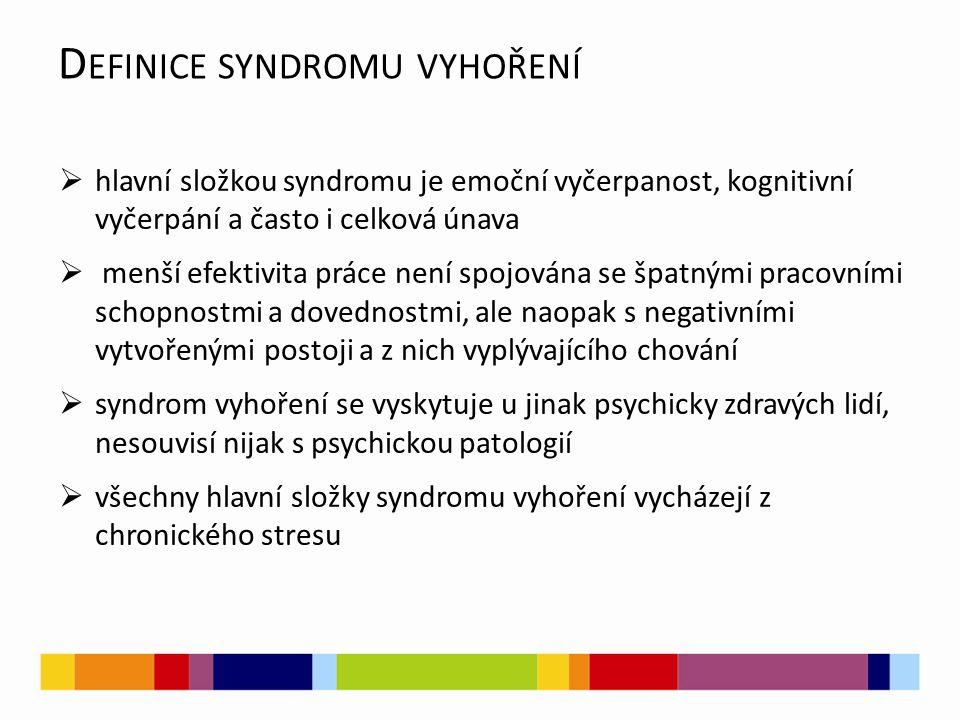D EFINICE SYNDROMU VYHOŘENÍ  hlavní složkou syndromu je emoční vyčerpanost, kognitivní vyčerpání a často i celková únava  menší efektivita práce není spojována se špatnými pracovními schopnostmi a dovednostmi, ale naopak s negativními vytvořenými postoji a z nich vyplývajícího chování  syndrom vyhoření se vyskytuje u jinak psychicky zdravých lidí, nesouvisí nijak s psychickou patologií  všechny hlavní složky syndromu vyhoření vycházejí z chronického stresu