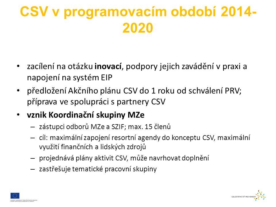 CSV v programovacím období 2014- 2020 zacílení na otázku inovací, podpory jejich zavádění v praxi a napojení na systém EIP předložení Akčního plánu CSV do 1 roku od schválení PRV; příprava ve spolupráci s partnery CSV vznik Koordinační skupiny MZe – zástupci odborů MZe a SZIF; max.