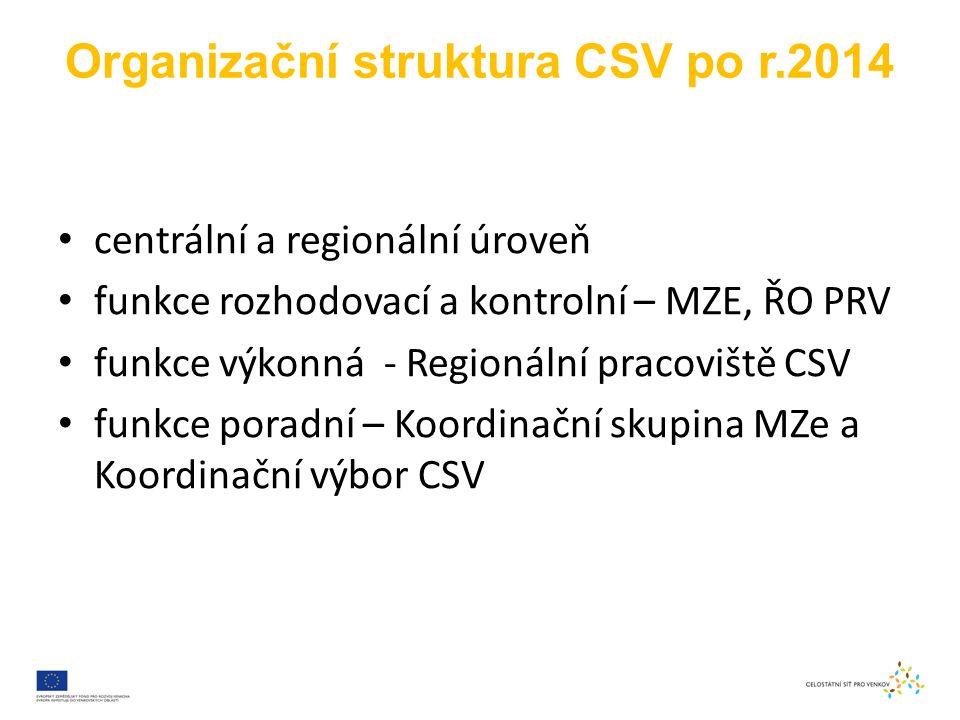 Organizační struktura CSV po r.2014 centrální a regionální úroveň funkce rozhodovací a kontrolní – MZE, ŘO PRV funkce výkonná - Regionální pracoviště CSV funkce poradní – Koordinační skupina MZe a Koordinační výbor CSV