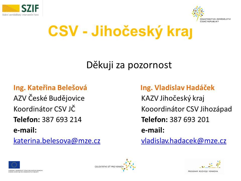 CSV - Jihočeský kraj Děkuji za pozornost Ing. Kateřina Belešová Ing.