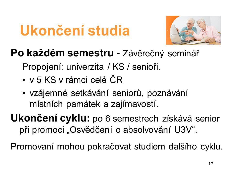 Ukončení studia Po každém semestru - Závěrečný seminář Propojení: univerzita / KS / senioři.
