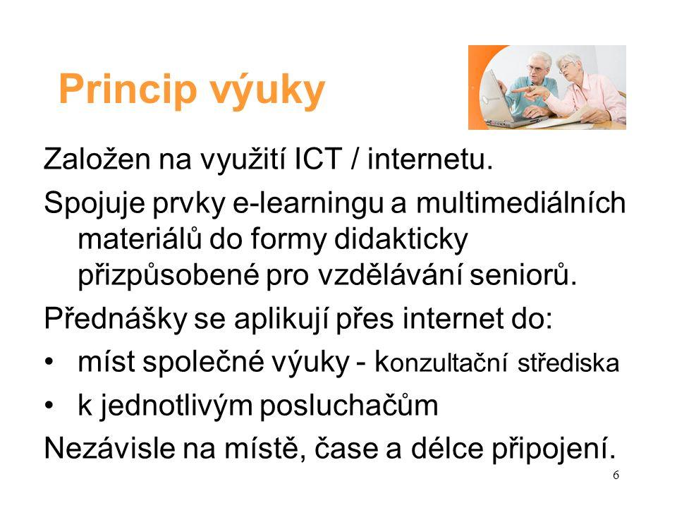 Princip výuky Založen na využití ICT / internetu.