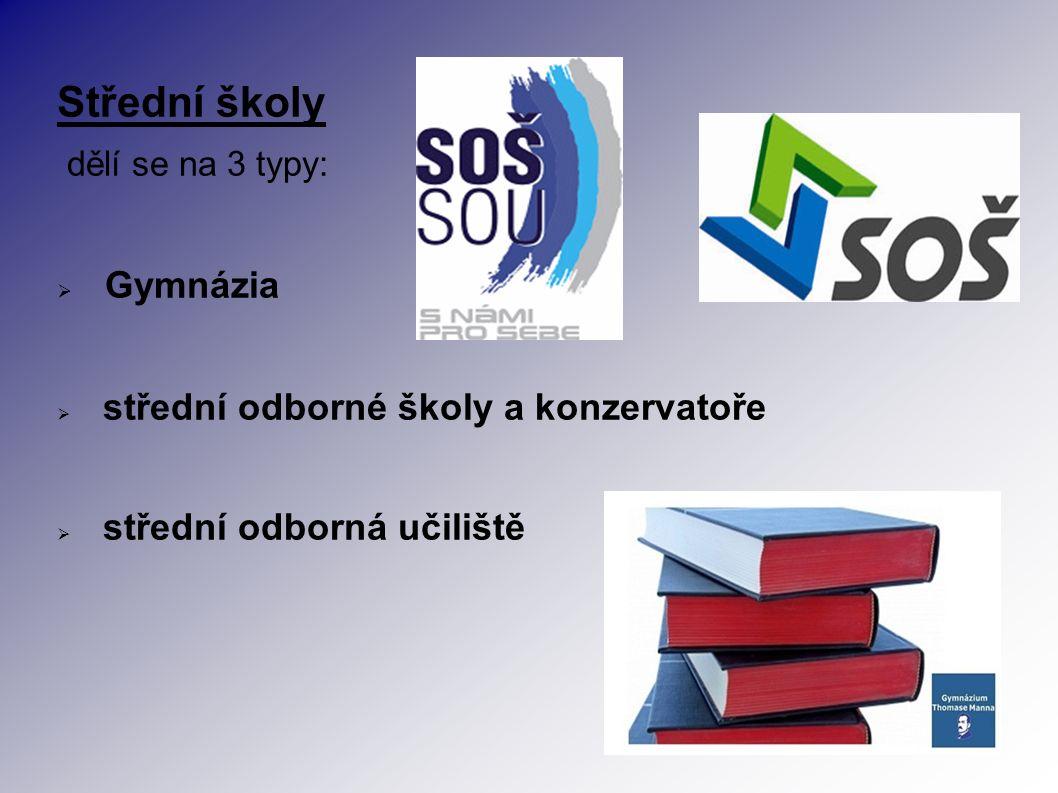 Střední školy dělí se na 3 typy:  Gymnázia  střední odborné školy a konzervatoře  střední odborná učiliště