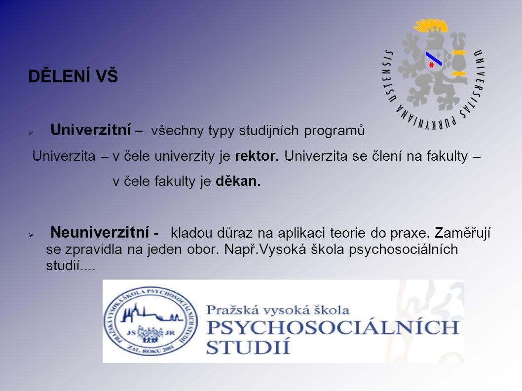 DĚLENÍ VŠ  Univerzitní – všechny typy studijních programů Univerzita – v čele univerzity je rektor.