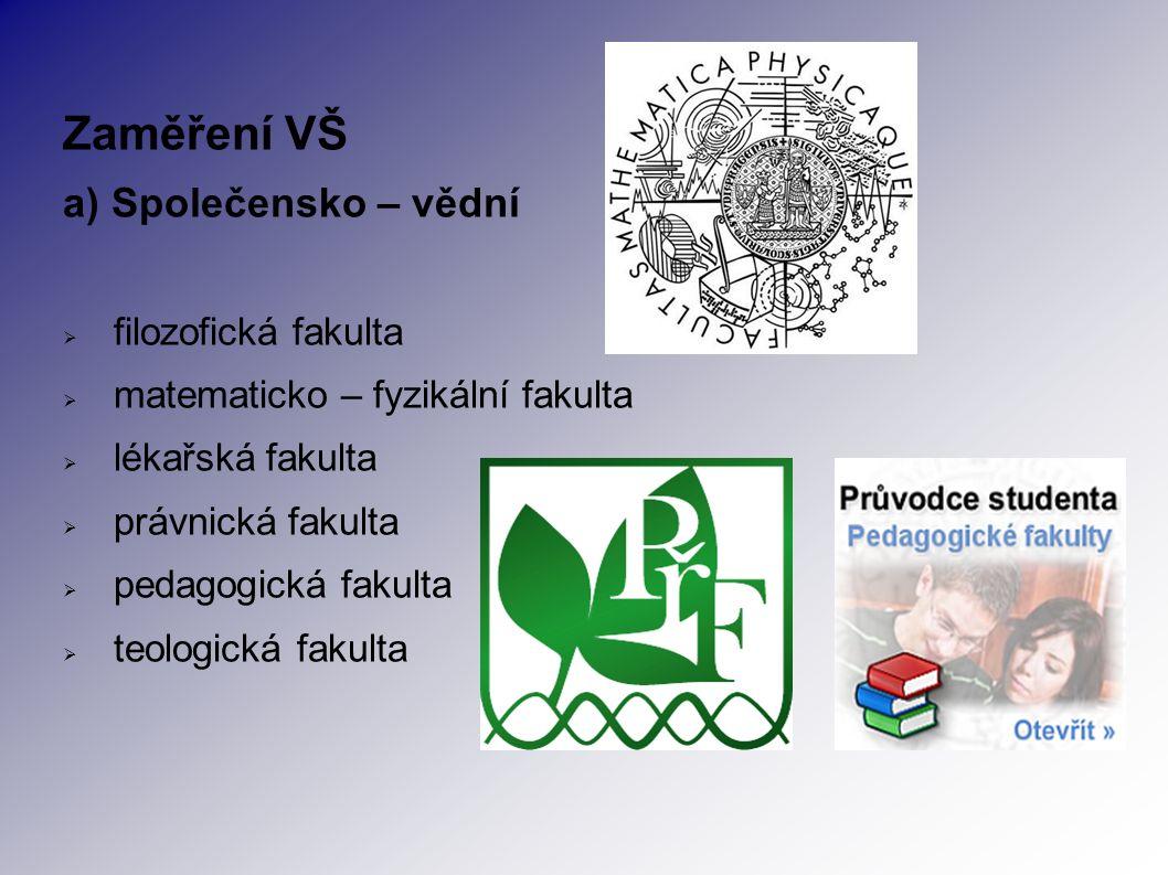 Zaměření VŠ a) Společensko – vědní  filozofická fakulta  matematicko – fyzikální fakulta  lékařská fakulta  právnická fakulta  pedagogická fakulta  teologická fakulta