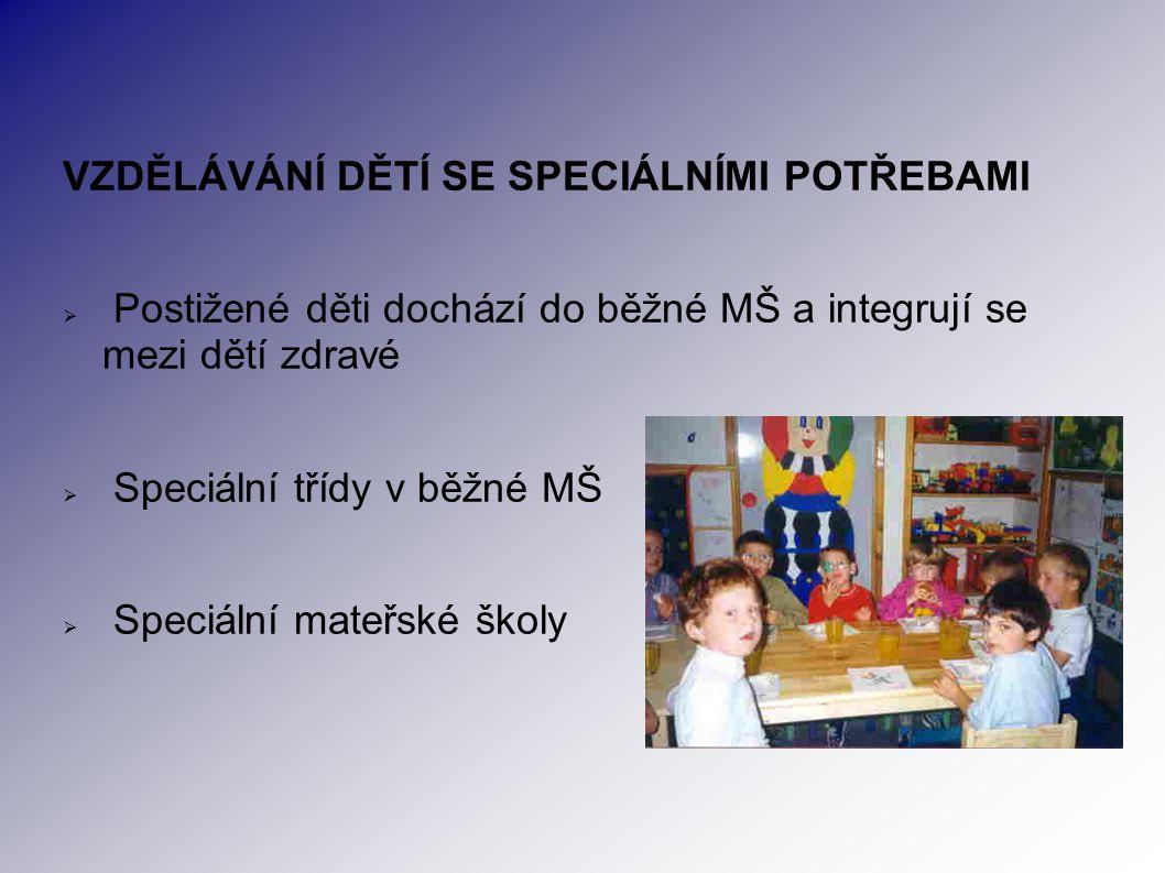 VZDĚLÁVÁNÍ DĚTÍ SE SPECIÁLNÍMI POTŘEBAMI  Postižené děti dochází do běžné MŠ a integrují se mezi dětí zdravé  Speciální třídy v běžné MŠ  Speciální mateřské školy