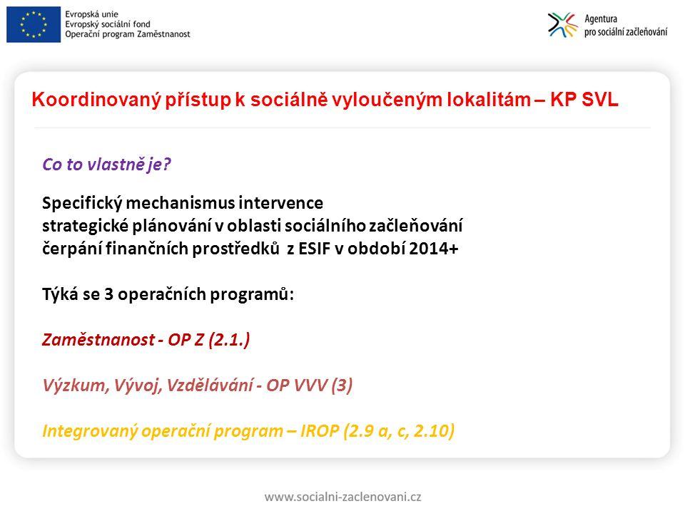 Koordinovaný přístup k sociálně vyloučeným lokalitám – KP SVL Co to vlastně je? Specifický mechanismus intervence strategické plánování v oblasti soci