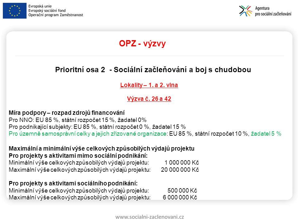 OPZ - výzvy Prioritní osa 2 - Sociální začleňování a boj s chudobou Lokality – 1. a 2. vlna Výzva č. 26 a 42 Míra podpory – rozpad zdrojů financování