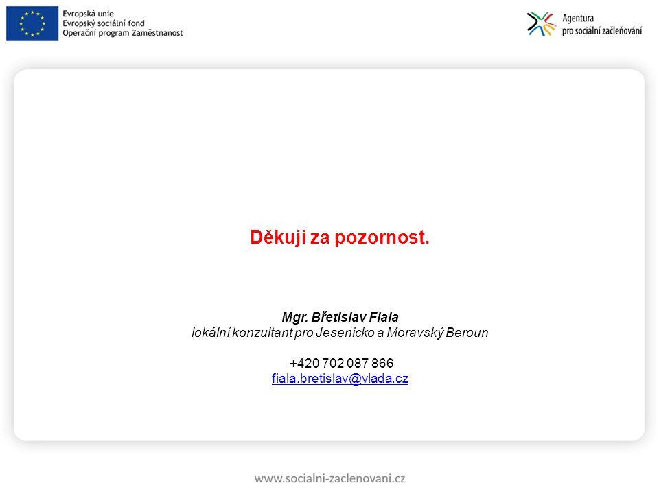 Děkuji za pozornost. Mgr. Břetislav Fiala lokální konzultant pro Jesenicko a Moravský Beroun +420 702 087 866 fiala.bretislav@vlada.cz
