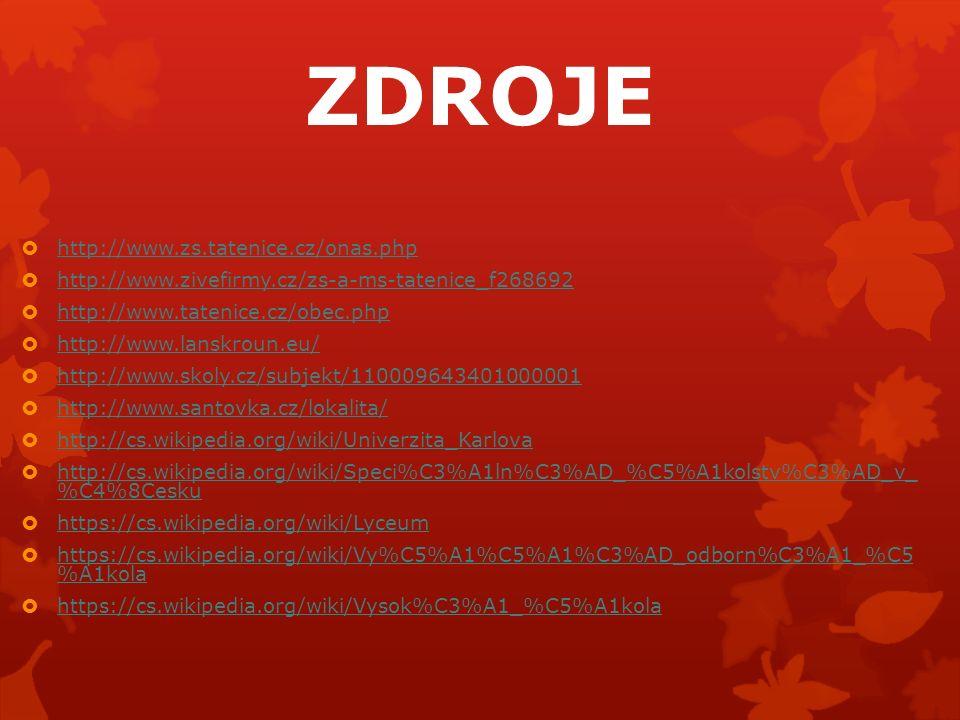 ZDROJE  http://www.zs.tatenice.cz/onas.php http://www.zs.tatenice.cz/onas.php  http://www.zivefirmy.cz/zs-a-ms-tatenice_f268692 http://www.zivefirmy