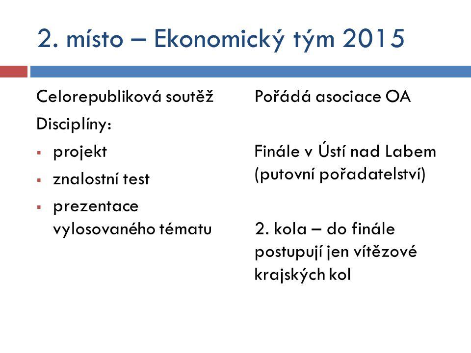 2. místo – Ekonomický tým 2015 Celorepubliková soutěž Disciplíny:  projekt  znalostní test  prezentace vylosovaného tématu Pořádá asociace OA Finál