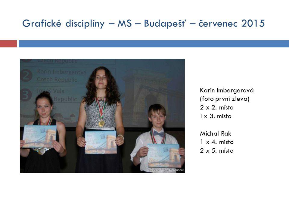 Grafické disciplíny – MS – Budapešť – červenec 2015 Karin Imbergerová (foto první zleva) 2 x 2.
