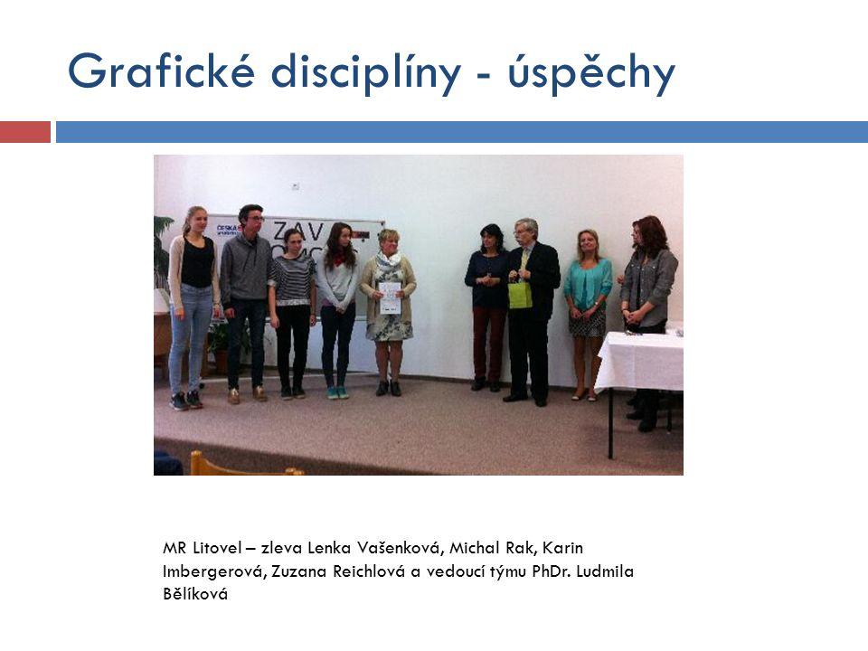 Grafické disciplíny - úspěchy MR Litovel – zleva Lenka Vašenková, Michal Rak, Karin Imbergerová, Zuzana Reichlová a vedoucí týmu PhDr.