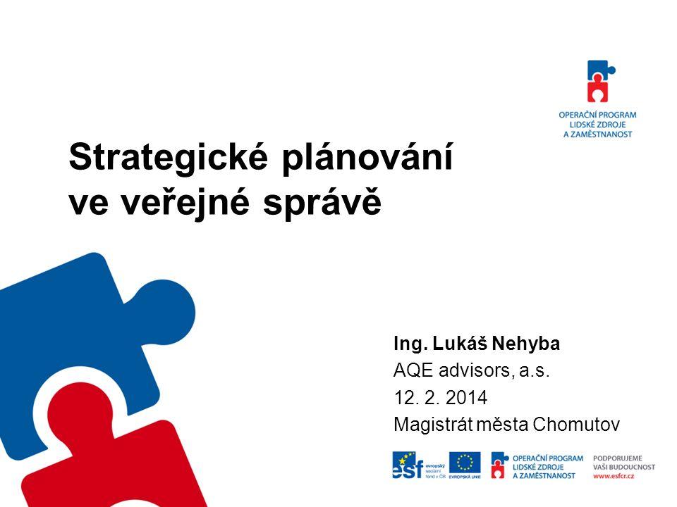 Strategické plánování ve veřejné správě Ing. Lukáš Nehyba AQE advisors, a.s.