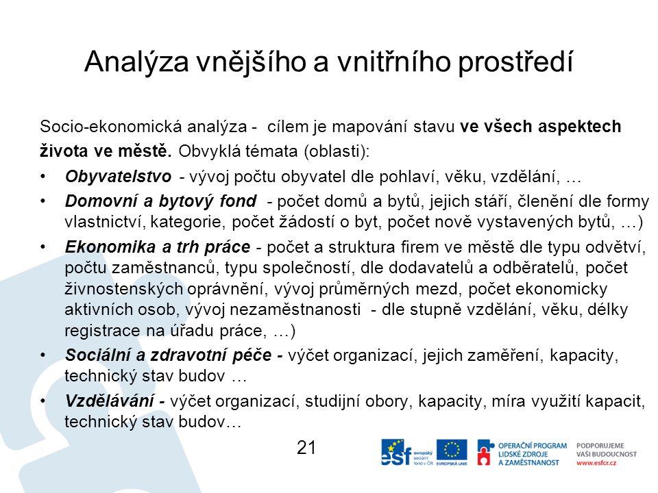 Analýza vnějšího a vnitřního prostředí Socio-ekonomická analýza - cílem je mapování stavu ve všech aspektech života ve městě.