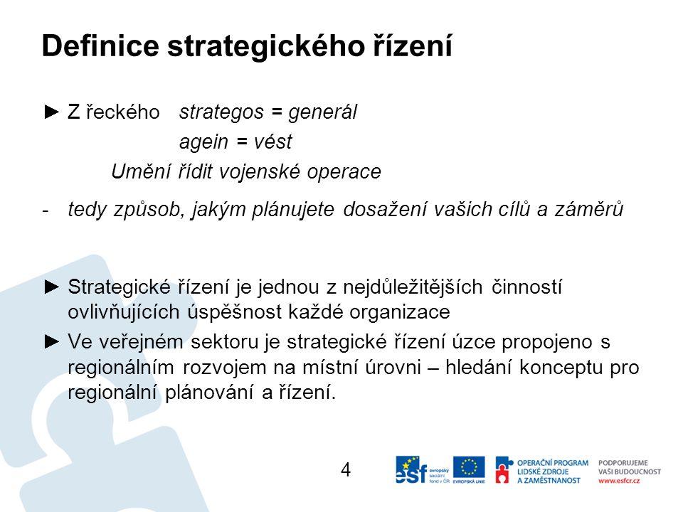 ►Z řeckéhostrategos = generál agein = vést Umění řídit vojenské operace -tedy způsob, jakým plánujete dosažení vašich cílů a záměrů ►Strategické řízení je jednou z nejdůležitějších činností ovlivňujících úspěšnost každé organizace ►Ve veřejném sektoru je strategické řízení úzce propojeno s regionálním rozvojem na místní úrovni – hledání konceptu pro regionální plánování a řízení.