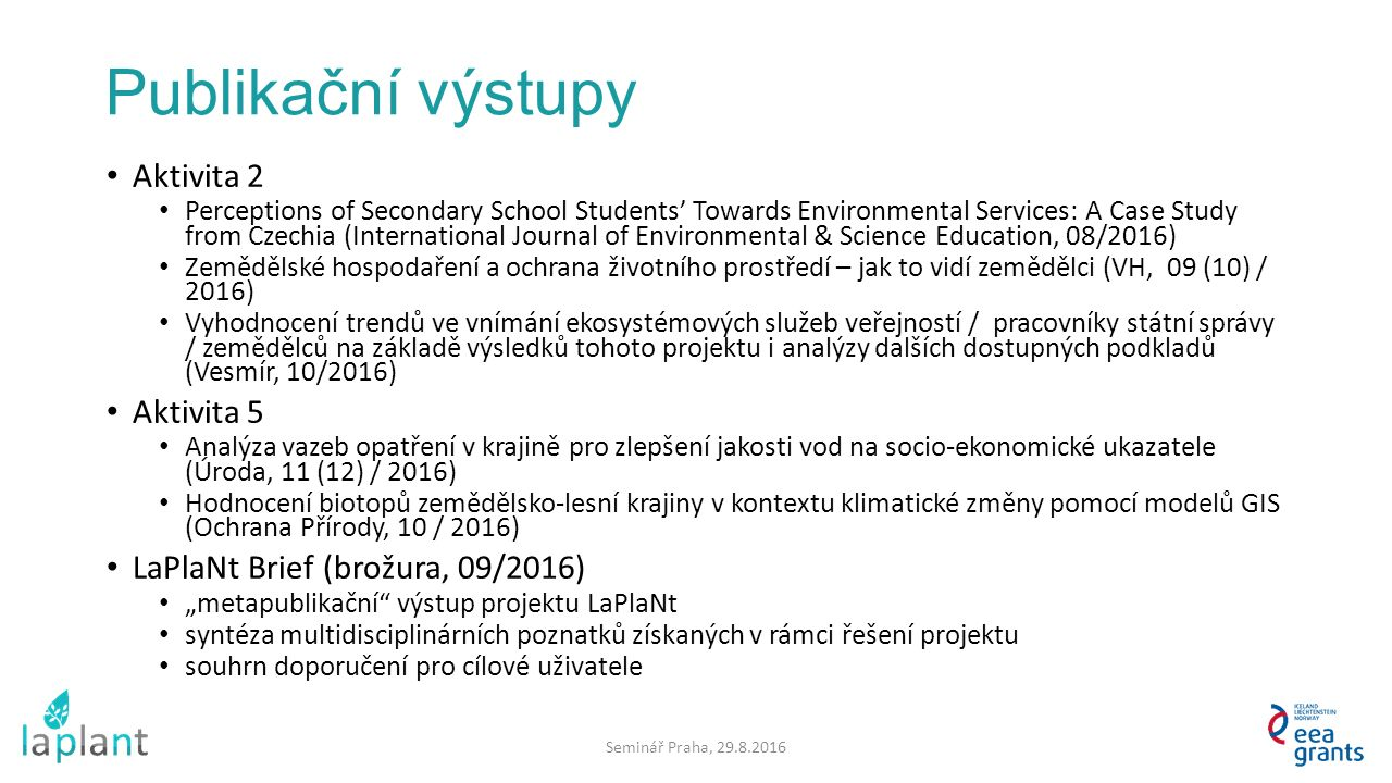 Publikační výstupy Aktivita 2 Perceptions of Secondary School Students' Towards Environmental Services: A Case Study from Czechia (International Journ