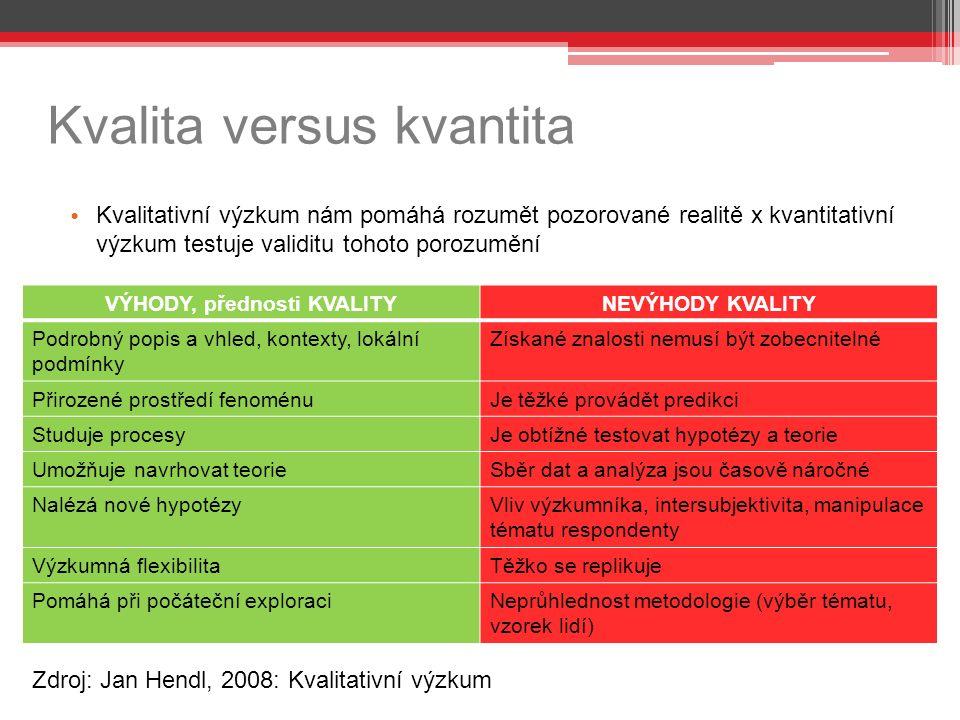 Kvalita versus kvantita Kvalitativní výzkum nám pomáhá rozumět pozorované realitě x kvantitativní výzkum testuje validitu tohoto porozumění VÝHODY, přednosti KVALITYNEVÝHODY KVALITY Podrobný popis a vhled, kontexty, lokální podmínky Získané znalosti nemusí být zobecnitelné Přirozené prostředí fenoménuJe těžké provádět predikci Studuje procesyJe obtížné testovat hypotézy a teorie Umožňuje navrhovat teorieSběr dat a analýza jsou časově náročné Nalézá nové hypotézyVliv výzkumníka, intersubjektivita, manipulace tématu respondenty Výzkumná flexibilitaTěžko se replikuje Pomáhá při počáteční exploraciNeprůhlednost metodologie (výběr tématu, vzorek lidí) Zdroj: Jan Hendl, 2008: Kvalitativní výzkum