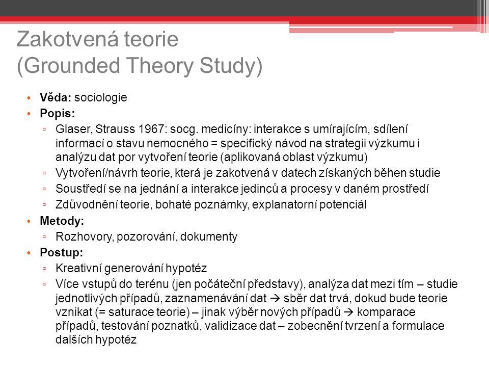 Zakotvená teorie (Grounded Theory Study) Věda: sociologie Popis: ▫ Glaser, Strauss 1967: socg.