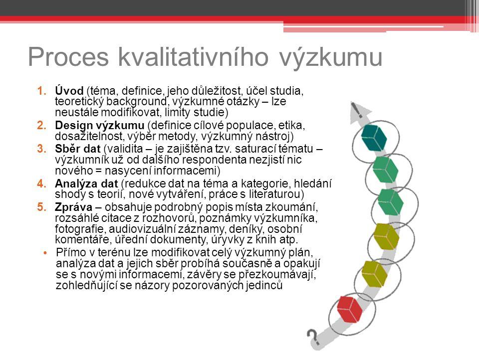 Proces kvalitativního výzkumu 1.Úvod (téma, definice, jeho důležitost, účel studia, teoretický background, výzkumné otázky – lze neustále modifikovat, limity studie) 2.Design výzkumu (definice cílové populace, etika, dosažitelnost, výběr metody, výzkumný nástroj) 3.Sběr dat (validita – je zajištěna tzv.