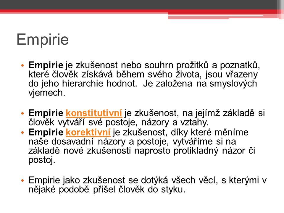 Empirie Empirie je zkušenost nebo souhrn prožitků a poznatků, které člověk získává během svého života, jsou vřazeny do jeho hierarchie hodnot.