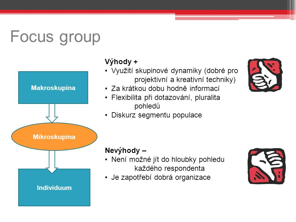 Focus group s Individuum Výhody + Využití skupinové dynamiky (dobré pro projektivní a kreativní techniky) Za krátkou dobu hodně informací Flexibilita při dotazování, pluralita pohledů Diskurz segmentu populace Nevýhody – Není možné jít do hloubky pohledu každého respondenta Je zapotřebí dobrá organizace Mikroskupina Makroskupina