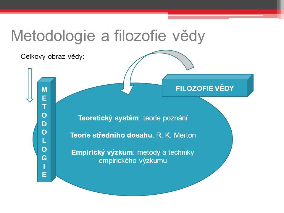 Metodologie a filozofie vědy Celkový obraz vědy: Teoretický systém: teorie poznání Teorie středního dosahu: R.
