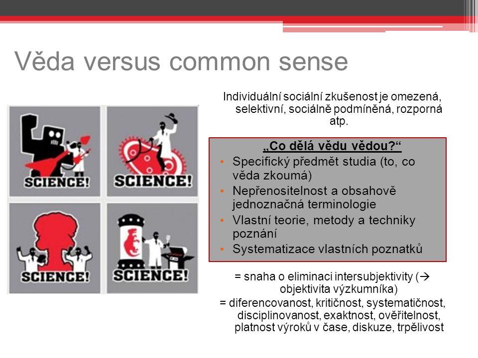 Věda versus common sense Individuální sociální zkušenost je omezená, selektivní, sociálně podmíněná, rozporná atp.