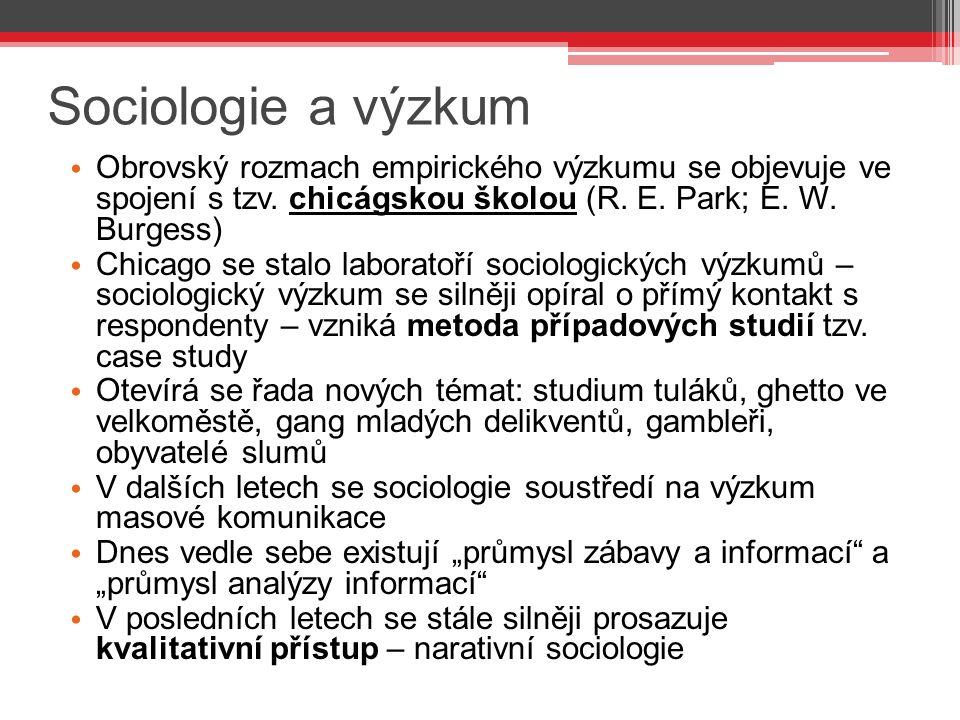 Sociologie a výzkum Obrovský rozmach empirického výzkumu se objevuje ve spojení s tzv.
